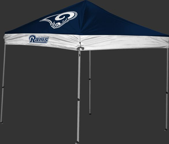 A navy/white Las Angeles Rams 9x9 shelter with a team logo on the left side - SKU: 03231073115
