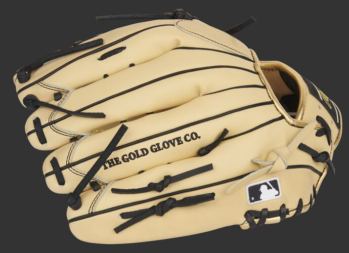Camel Speed Shell back of Rawlings Pro Preferred outfield glove with the MLB logo on the pinkie - SKU: PROS3039-22CBSS