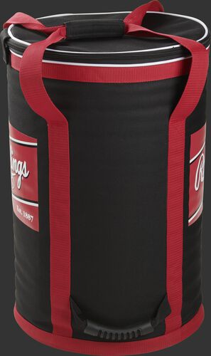 Side of a black soft baseball bag with red straps and a handle on the bottom - SKU: RSSBB-B