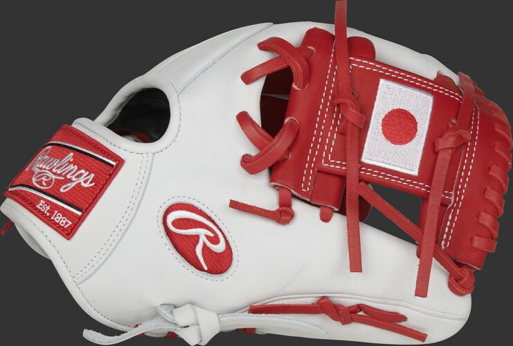 A white PRO204-2JP Heart of the Hide Japan infield glove with a Japanese flag on the scarlet I-web