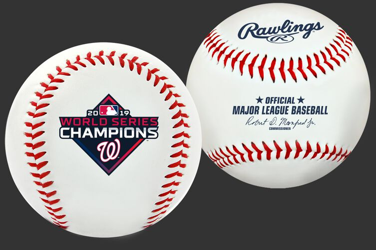 Two images of a 2019 Washington Nationals World Series Champions replica baseball with an official World Series Champions logo