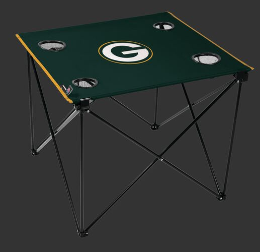 Rawlings Green NFL Green Bay Packers Deluxe Tailgate Table With Four Cup Holders and Team Logo Printed In The Middle SKU #00701068111