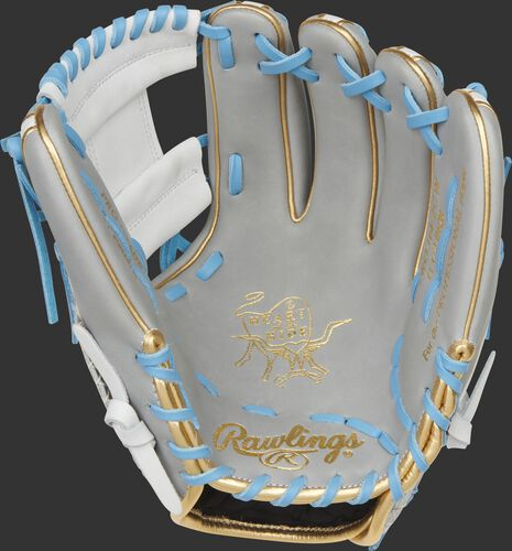 Gray palm of a Rawlings Heart of the Hide ColorSync 5.0 infield glove with gold stamping and Columbia blue laces - SKU: PRO314-2GW