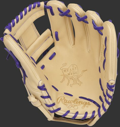 Camel Palm of a Rawlings Trevor Story infield glove with camel web and purple laces - SKU: RSGPRONP4-2TS