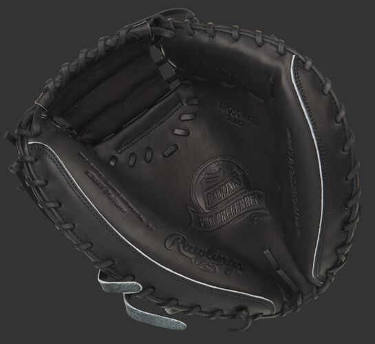 Black palm of a Pro Preferred Hyper Shell catcher's mitt with a black web and black laces - SKU: PROSCM41B