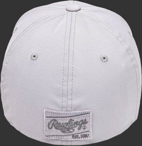 Back of a Black Clover Platinum hat with a platinum Rawlings patch - SKU: BCR1P0071