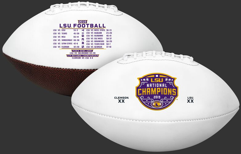 2 sides of a white 2020 LSU Tigers College Football National Champions full sized football