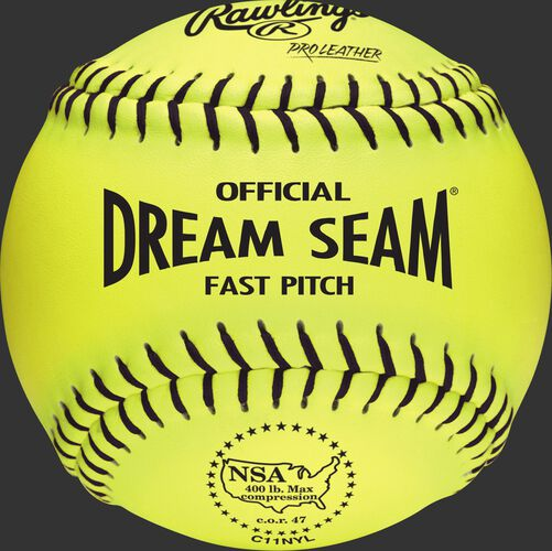 A yellow C11NYL NSA official 11-inch Dream Seam softball with blue stitching