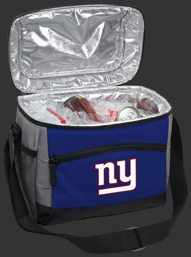 An open New York Giants 12 can cooler filled with ice and drinks - SKU: 10111078111