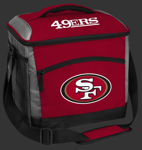 A red San Francisco 49ers 24 can soft sided cooler with screen printed logos - SKU: 10211084111
