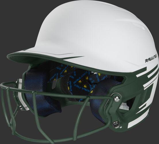 Front left of a white/dark green Mach softball helmet with a dark green mask - SKU: MSB13S-W/DG