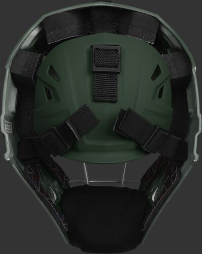 Adjustable back plate of a dark green CHV27J Velo 2.0 hockey style catcher's mask