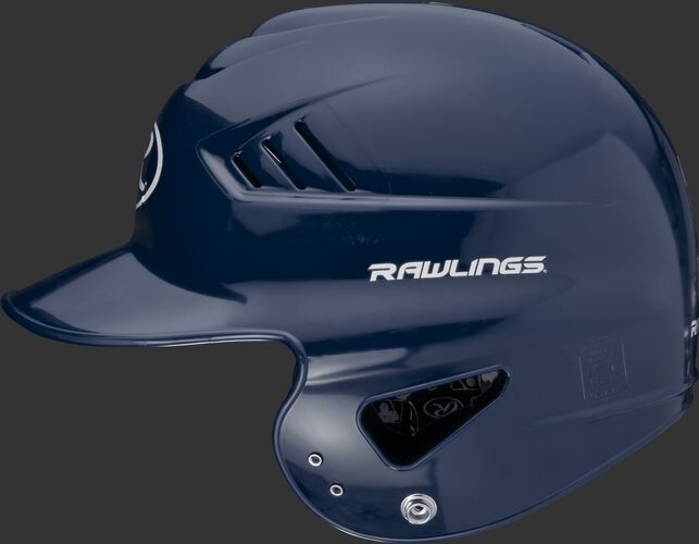 Left side of a navy RCFTB Coolflo T-ball helmet with a Rawlings logo above the ear hole