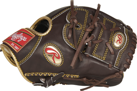 Thumb view of a mocha RGG205-9MO Gold Glove 11.75-inch glove with a mocha two-piece solid web and gold Oval R logo