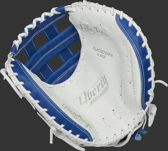 RLACM33FPR Rawlings Liberty Advanced Color Series catcher's mitt with a white palm, royal web and white laces