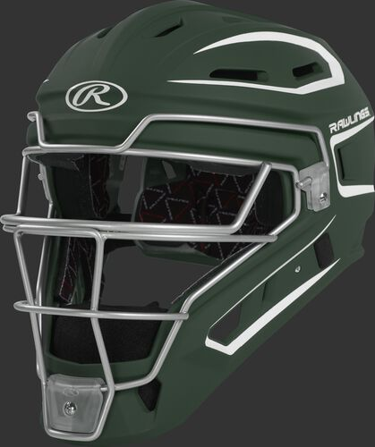 CHV27J dark green Velo 2.0 youth catcher's helmet with white trim