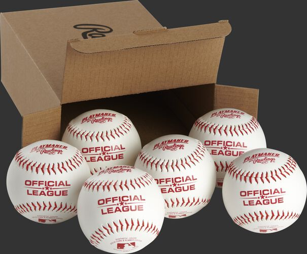 6 Rawlings Playmaker balls in front of an open box - SKU: PMBBPK6