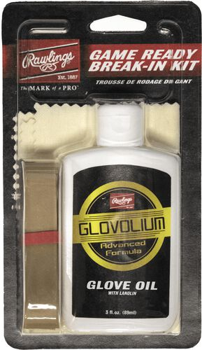 Rawlings Game Ready Glove Break-In Kit With Glove Oil, Cloth, and Rubber Band SKU #BRKIT