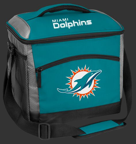 A teal Miami Dolphins 24 can soft sided cooler with screen printed team logos - SKU: 10211074111