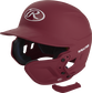 A matte cardinal MEXT attached to a Mach batting helmet showing the hardware image number null