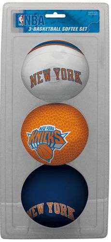 Rawlings White, Brown, and Navy NBA New York Knicks Three-Point Softee Basketball Set With Team Logo SKU #03524195114