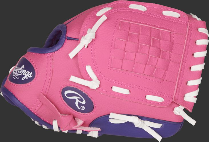 Thumb view of a pink PL91PP Players Series 9-inch youth softball glove with purple trim and a pink Basket web