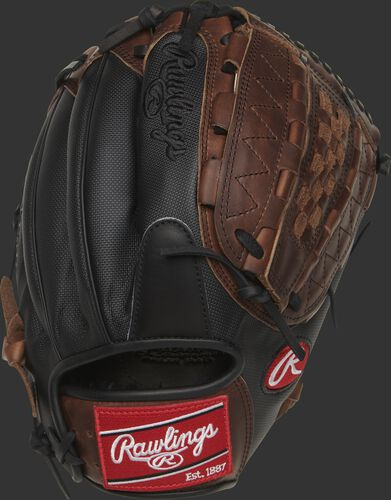 Black Speed Shell back of a Heart of the Hide 12.25-Inch infield/pitcher's glove with a red Rawlings patch - SKU: PRO1000-14DMSSPRO