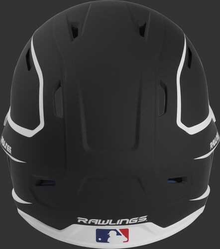 Back of a black/white MACH high performance senior helmet with the Official Batting Helmet of MLB logo