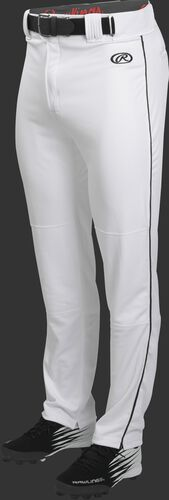 Front of Rawlings White/Black Adult Launch Piped Semi-Relaxed Baseball Pant - SKU #LNCHSRP-BG/B-88