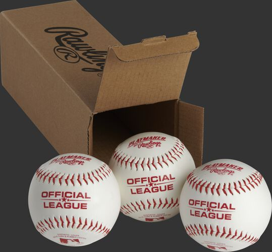 3 Rawlings Playmaker balls in front of an open box - SKU: PMBBPK3