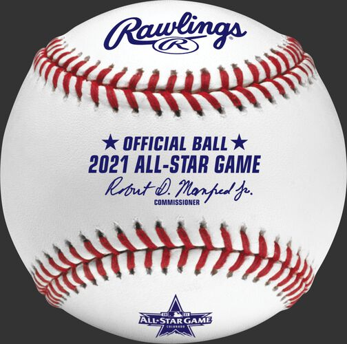 A 2021 Rawlings MLB commemorative All-Star game baseball with the 2021 ASG logo and red stitching - SKU: EA-ASBB21CR-R