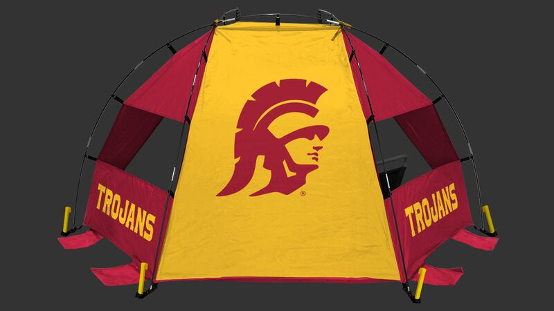 Back of a USC Trojans sideline sun shelter with the Trojans logo in the middle - SKU: 00973100111