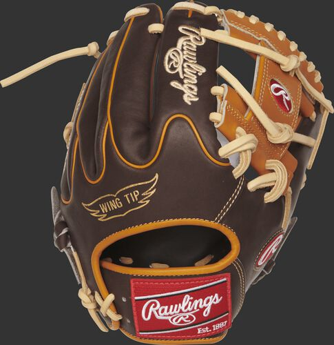 A PRO205W-2CH 11.75-inch Heart of the Hide I web glove with a chocolate Wing Tip back