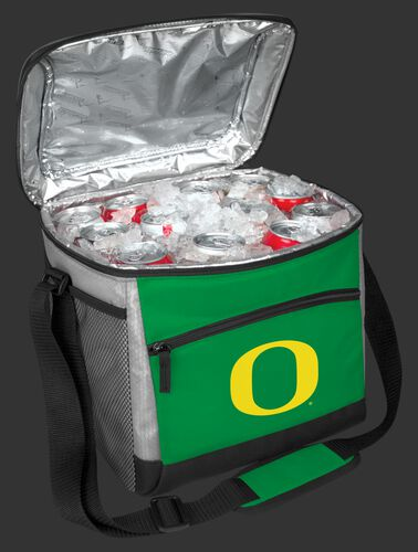 An open Oregon Ducks 24 can cooler filled with ice and drinks - SKU: 10223095111