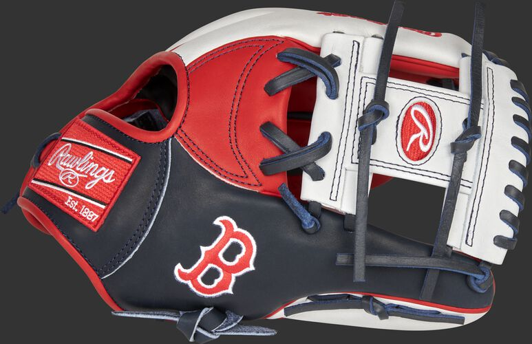 Thumb of a 2021 Boston Red Sox Heart of the Hide glove with the Red Sox logo on the thumb - SKU: RSGPRONP4-2BOS