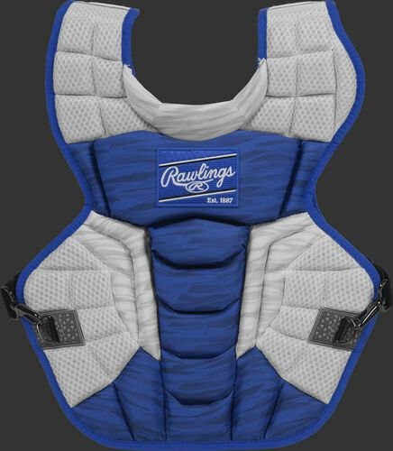 A royal/white CPV2N Rawlings Velo 2.0 intermediate chest protector with a striped pattern