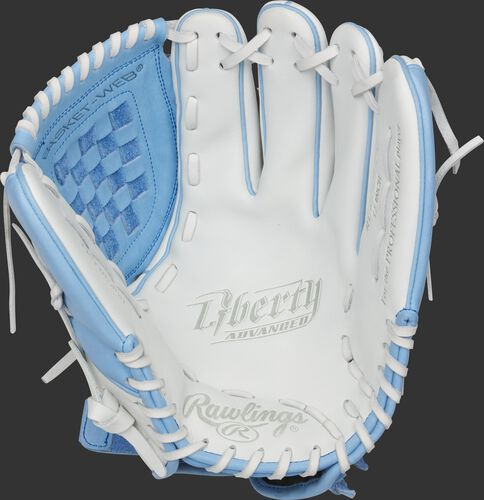 RLA120-3CB Rawlings Liberty Advanced Color Series glove with a white palm, columbia blue web and white laces