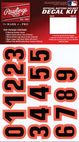 Rawlings MLB San Francisco Giants Decal Kit With Orange and Black Numbers SKU #MLBDC-SF