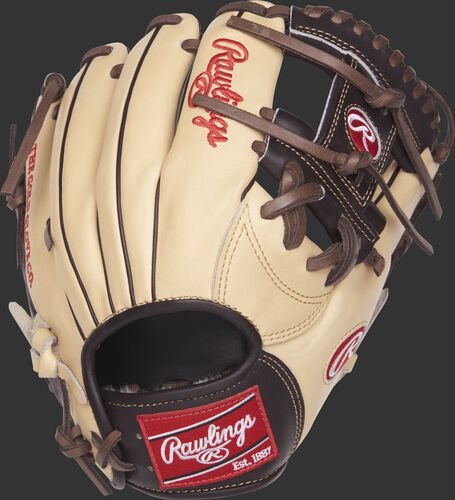 Back view of a Rawlings PROSNP4-2CMO 11.5-inch Pro Preferred I web glove with a camel kip leather back