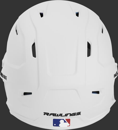 Back of a MACHEXTL high performance adult MACH helmet with a matte white shell and Official Batting Helmet of MLB logo