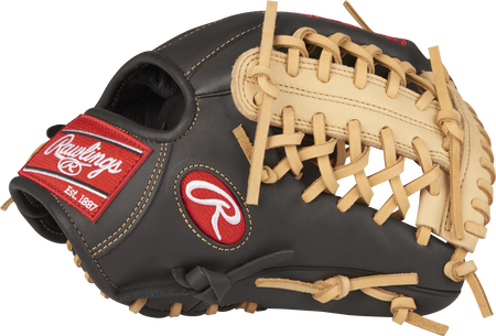 Thumb view of a dark shadow GXLE204-4DSC Gamer XLE 11.5-inch infield/pitcher's glove with a camel Modified Trap-Eze web