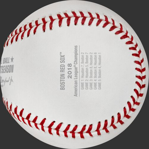 Game scores on the ALCS18CHMP baseball commemorating the Boston Red Sox American League Championship