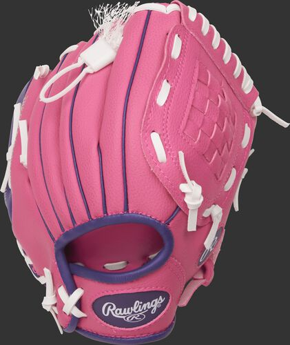 PL91PP 9-inch Players Series softball tee ball glove with a pink back
