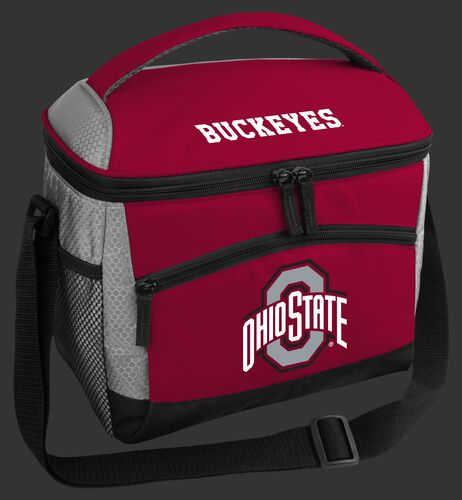 A red Ohio State Buckeyes 12 can soft sided cooler with a team logo on the front - SKU: 10123042111