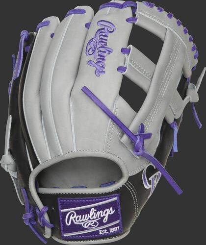 Gray back of a Colorado Rockies Heart of the Hide infield glove with a purple Rawlings patch - SKU: RSGPROTT2-20COL