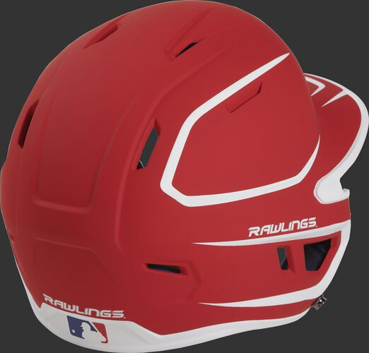 Back right of a two-tone matte scarlet/white MACH Rawlings senior size batting helmet
