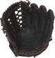 R9YPT4-4B 11.5-inch Rawlings R9 youth baseball glove with a black palm and black/scarlet laces image number null