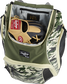 A glove in the dedicated glove storage pocket of a Rawlings Legion equipment backpack - SKU: LEGION-CAMO image number null