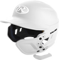 A matte white MEXT attached to a Mach batting helmet showing the hardware image number null