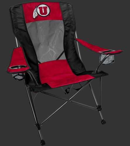 A red/black Utah Utes high back chair with the team logo on the back - SKU: 09403105519
